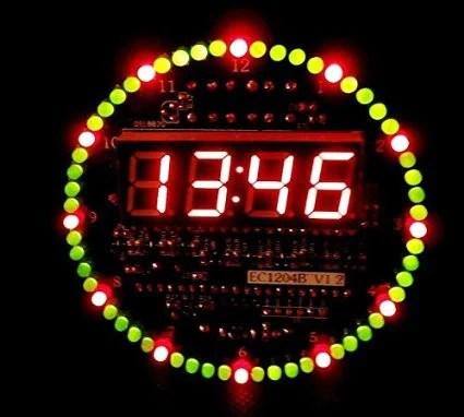 DIY DS1302 Rotating LED Electronic Digital Clock Kit