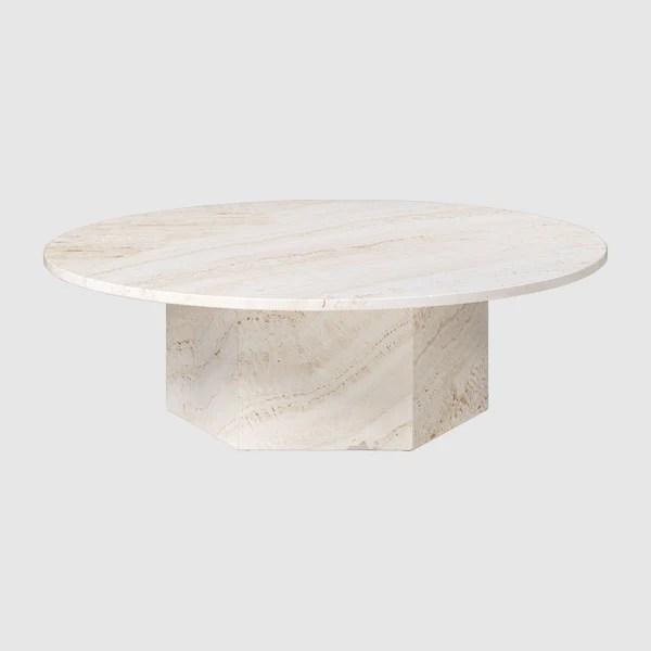 epic round coffee table in travertine diameter 110 cm gubi webshop