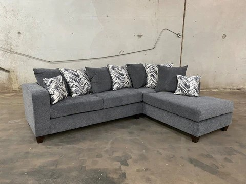 110 charcoal sectional sofa set with free pillow