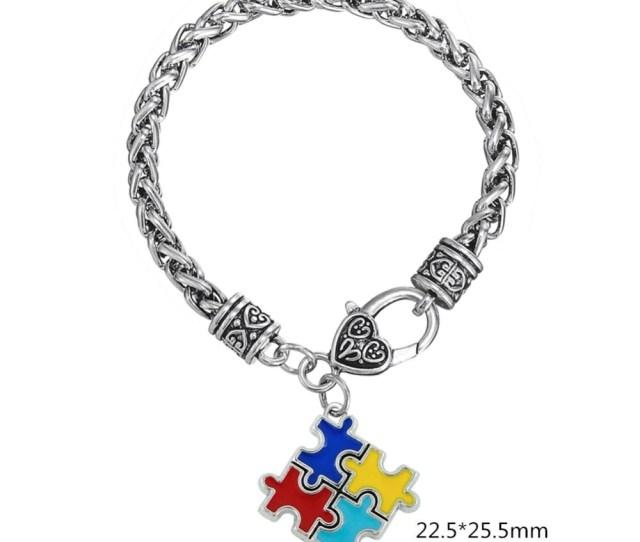 Fishhook Bracelets Bangles Zinc Alloy Enamel Autism Awareness Puzzle Piece