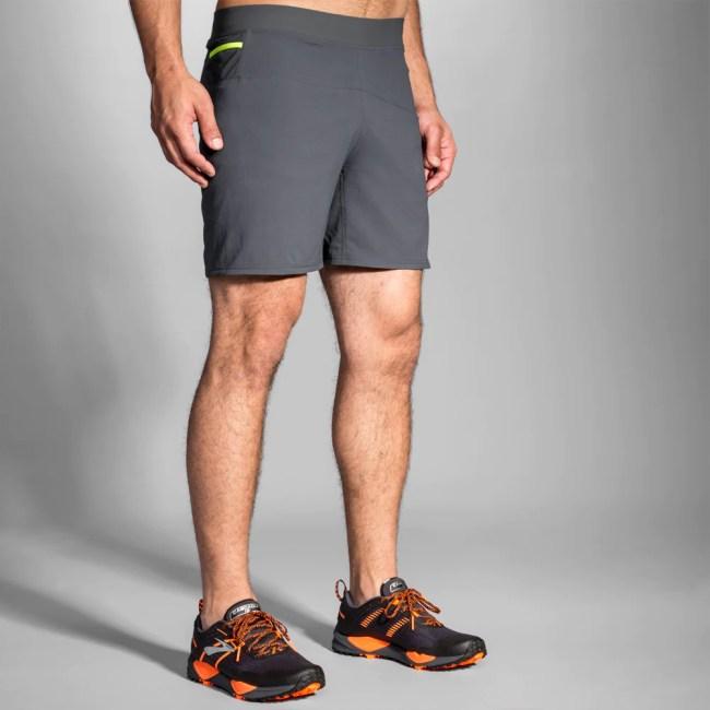 """Brooks Cascadia 7"""" 2-in-1 Shorts Men's Running Apparel Asphalt"""