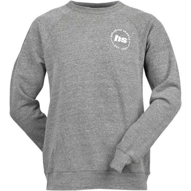Holabird Sports Fleece Crew Neck Sweatshirt Athletic Apparel Gray with White