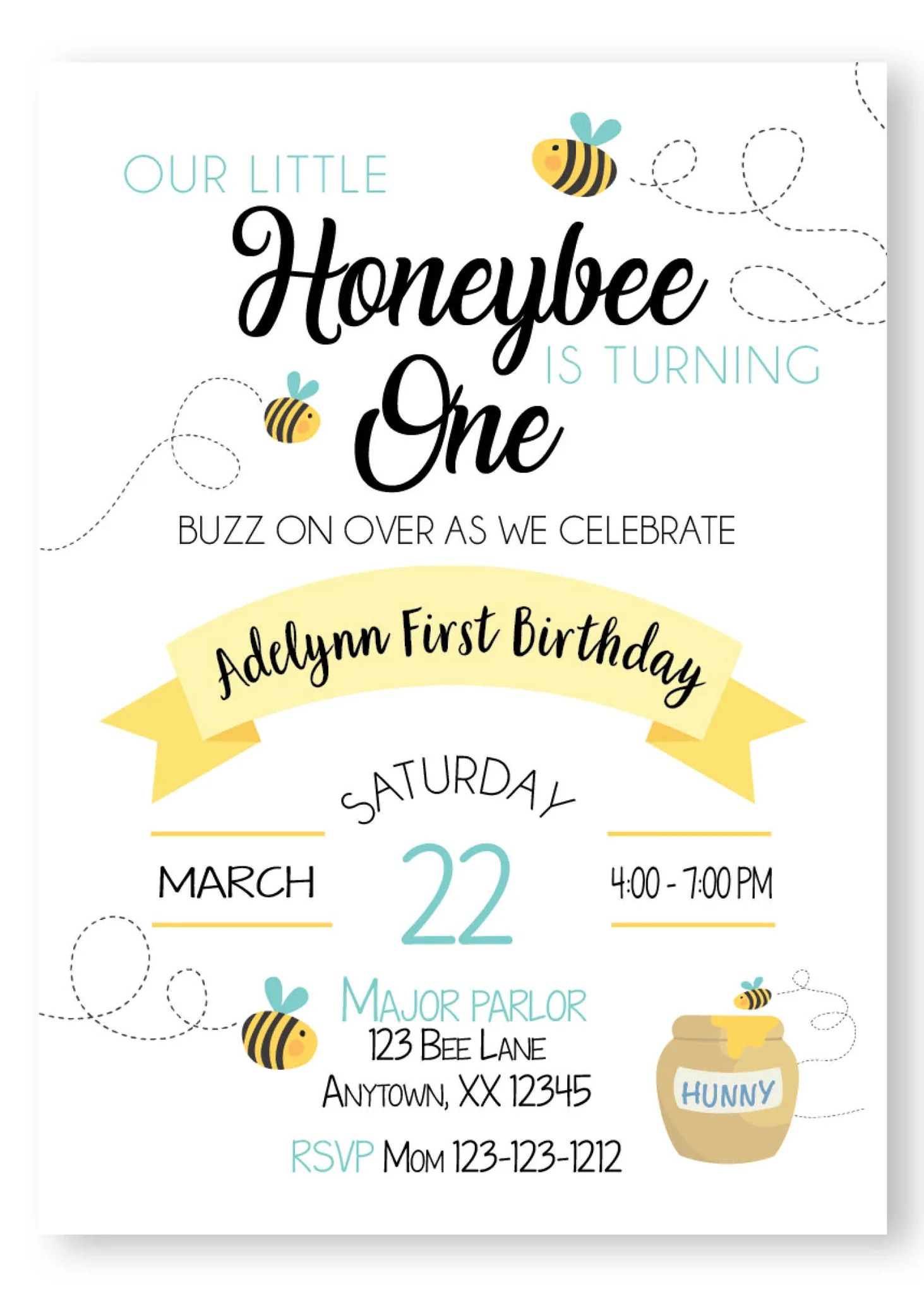 our little bee invitation digital