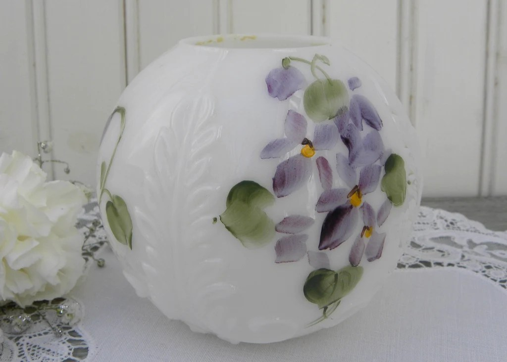 Vintage Hand Painted Violets Milk Glass Round Vase The