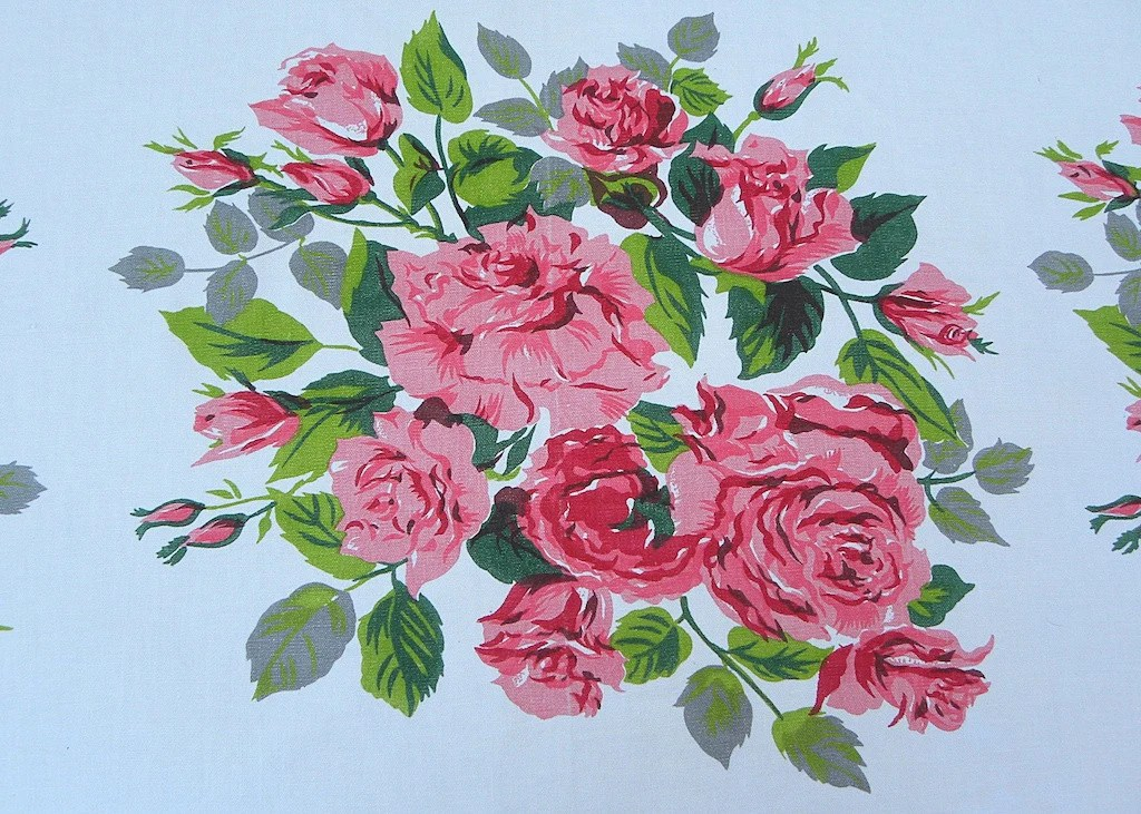 Vintage Tablecloths With Large Bouquets Of Pink Cabbage