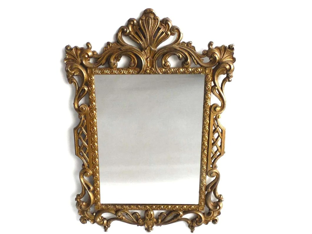 Mirror, Vintage Brass Plated Victorian Style Mirror. Made