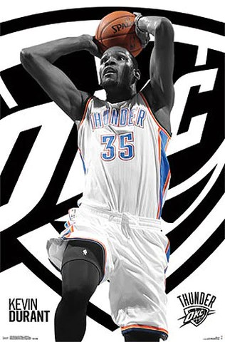 kevin durant power drive oklahoma city thunder official nba basketball poster costacos 2015