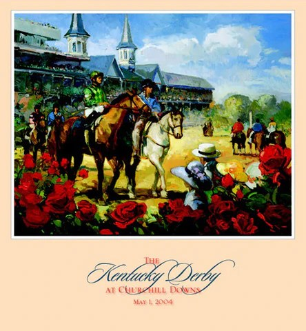 official poster of the 2004 kentucky derby horse racing poster artist francis livingston