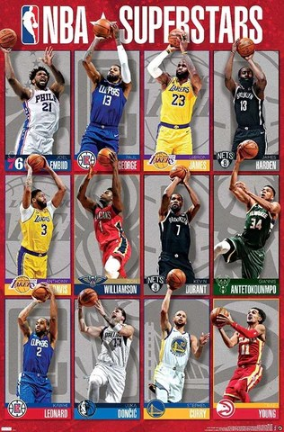 nba superstars 2021 poster 12 basketball greats in action costacos sports inc