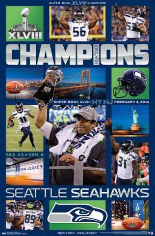 seattle seahawks super bowl xlviii celebration 2014 poster costacos