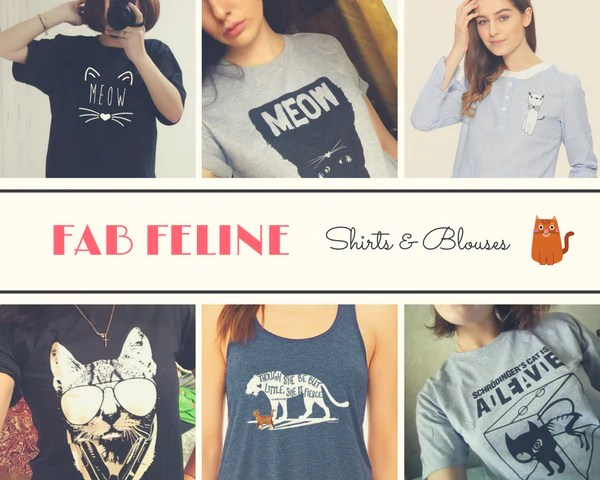 fab feline shirts and blouses