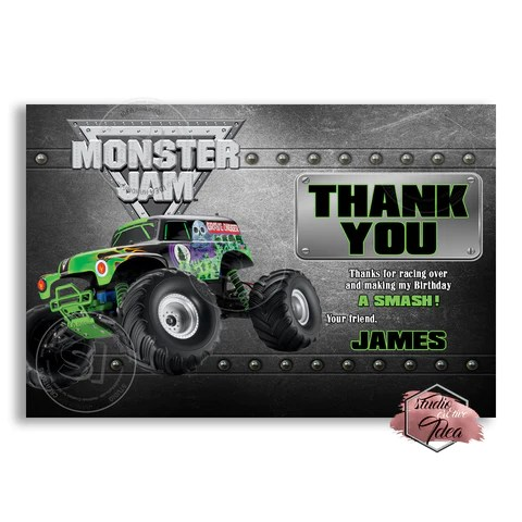 monster truck grave digger party printable invitation with free thank you card diy digital file birthday invitation you print