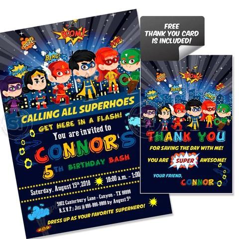 custom superheroes party printable invitation with free thank you card diy digital file superheroes birthday invitation you print