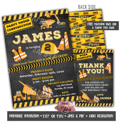 construction theme birthday party printable invitation with free thank you card and backside printable diy digital file construction theme birthday