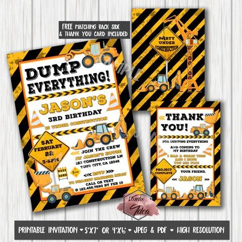 Construction Theme Birthday Party Printable Invitation With Free Thank Studio Cr8tive Idea