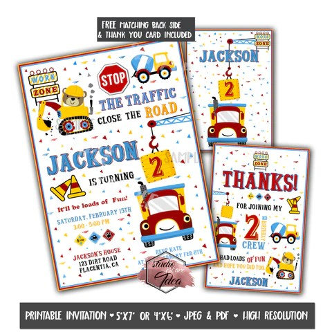 Construction Theme Kids Birthday Party Printable Invitation With Free Studio Cr8tive Idea