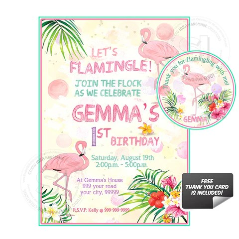 pink flamingo birthday party printable invitation with free thank you tag diy digital file flamingo birthday invitation you print