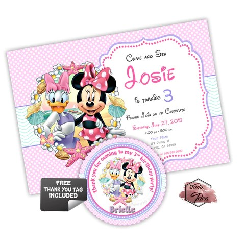 minnie mouse and daisy party printable invitation with free thank you tag diy digital file minnie and daisy duck summer sea birthday invitation and