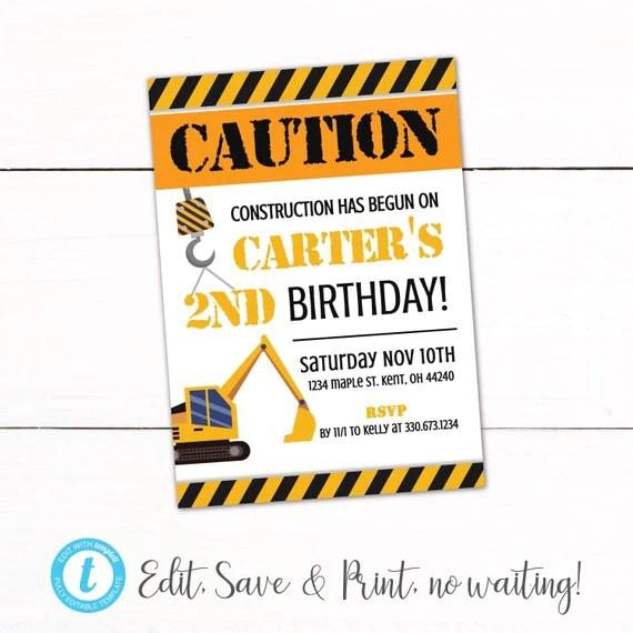 construction birthday party invitation under construction party theme boys birthday invitation construction party decor autodownload