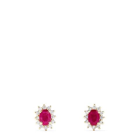 Effy Ruby Royale 14K Yellow Gold Ruby and Diamond Stud Earrings, 2.37 TCW
