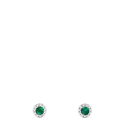 Effy Brasilica 14K White Gold Emerald and Diamond Stud Earrings, 0.39 TCW