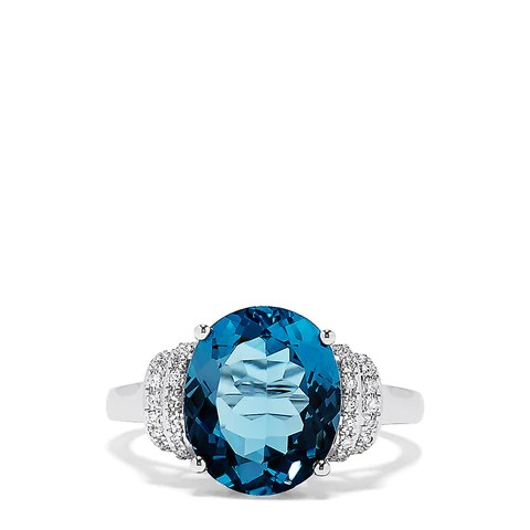 Effy 14K White Gold Blue Topaz and Diamond Ring, 5.42 TCW