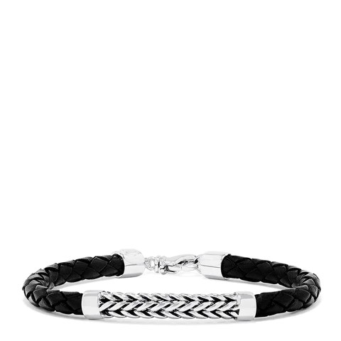 Effy Men's Sterling Silver and Leather Braid Bracelet