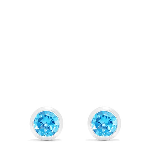 Effy Ocean Bleu 14K White Gold Blue Topaz Stud Earrings, 1.10 TCW