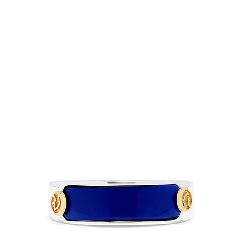 Effy Men's Sterling Silver and 18K Yellow Gold Lapis Lazuli Ring, 0.20 TCW
