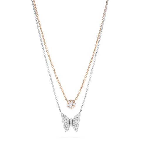 Effy Novelty 14K Two Tone Gold Diamond Butterfly Necklace, 0.46 TCW