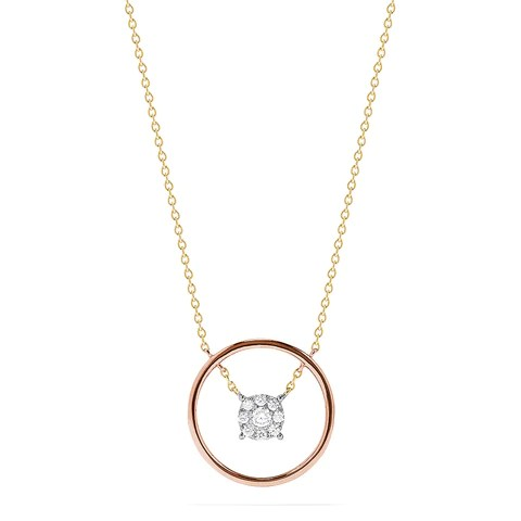 Effy Bouquet 14K Tri Color Gold Floating Diamond Cluster Necklace, 0.20 TCW