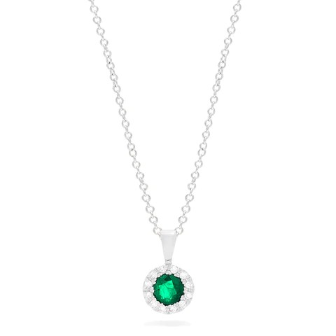 Effy Brasilica 14K White Gold Emerald and Diamond Pendant, 0.41 TCW