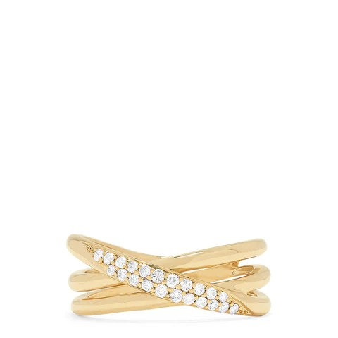Effy D'Oro 14K Yellow Gold Diamond Crossover Ring, 0.18 TCW