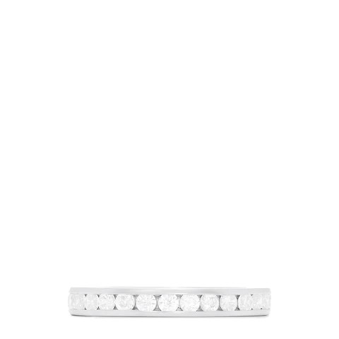 14K White Gold Channel Set Diamond Eternity Band, 1.00 TCW