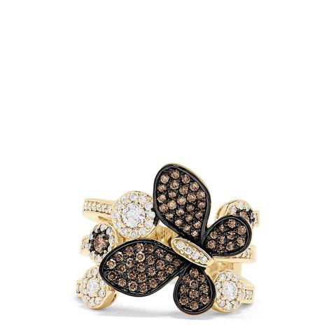 Effy Nature 14K Gold Espresso & White Diamond Butterfly Ring, 1.18 TCW