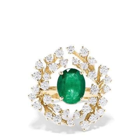 Effy Brasilica 14K Yellow Gold Emerald and Diamond Ring, 5.10 TCW