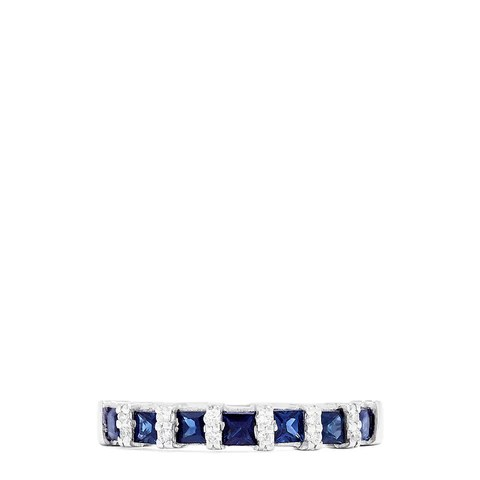 Effy Royale Bleu 14K White Gold Sapphire and Diamond Ring, 0.95 TCW