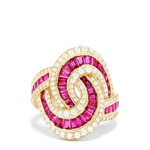 Effy Ruby Royale 14K Yellow Gold Genuine Ruby & Diamond Ring, 4.11 TCW
