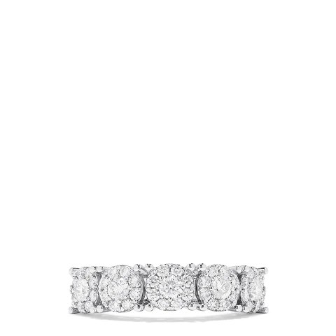 Effy Bouquet 14K White Gold Diamond Clusters Ring, 0.88 TCW