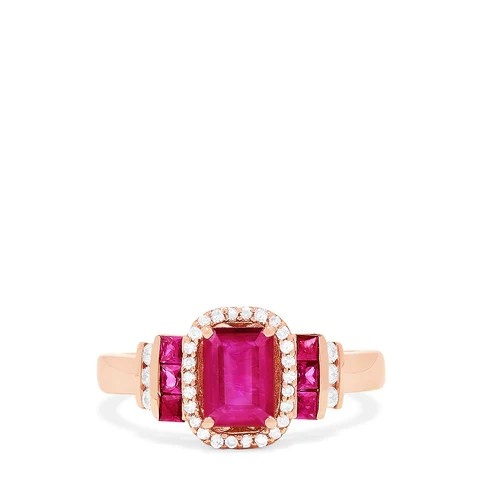 Effy Ruby Royale 14K Rose Gold Genuine Ruby & Diamond Ring, 1.61 TCW
