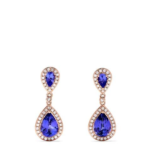 Effy Tanzanite Royale 14K Rose Gold Tanzanite & Diamond Earrings, 2.56 TCW