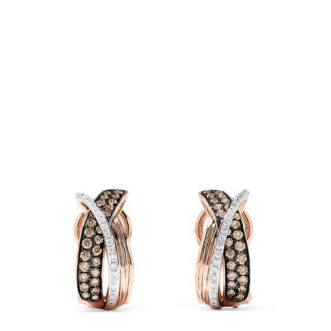 Effy 14K Rose Gold Espresso and White Diamond Earrings, 0.73 TCW