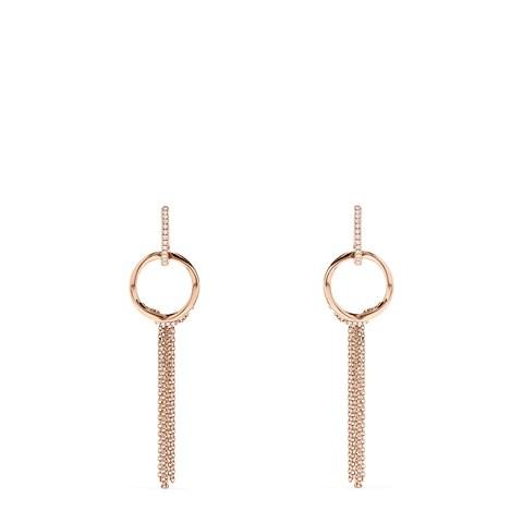 Effy Pave Rose 14K Gold Diamond Tassel Earrings, 0.16 TCW