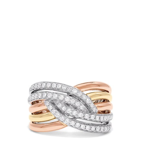 Effy Trio 14K Tri Color Gold Diamond Ring, 0.50 TCW