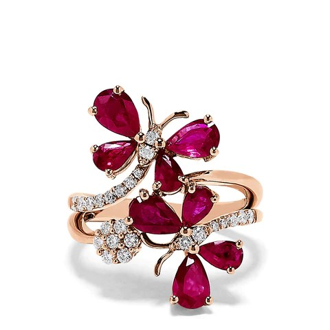Effy Nature 14K Rose Gold Ruby and Diamond Butterfly Ring, 3.38 TCW