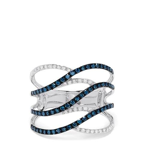 Effy Bella Bleu 14K White Gold Blue and White Diamond Ring, 0.47 TCW