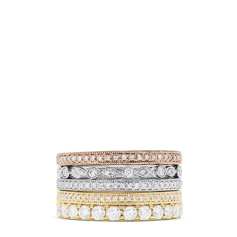 Effy Trio 14K Tri Color Gold Diamond 4 Ring Stack, 1.00 TCW