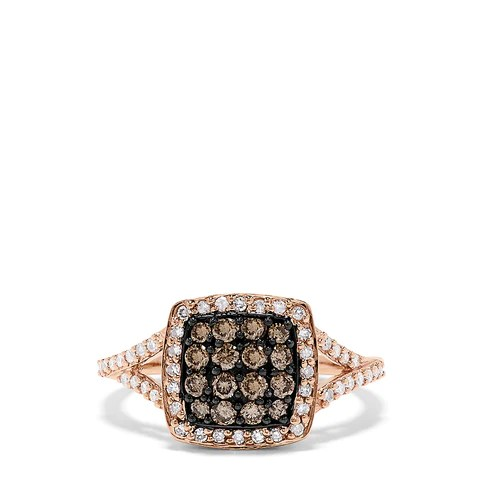 Effy 14K Rose Gold Espresso and White Diamond Ring, 0.60 TCW