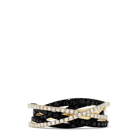 Effy 14K Yellow Gold Black and White Diamond Crossover Ring, 0.72 TCW