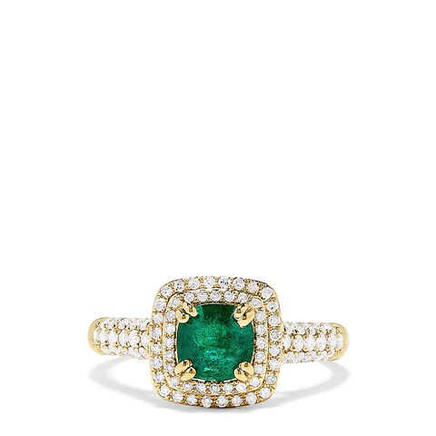 Effy Brasilica 14K Yellow Gold Emerald and Diamond Ring, 1.35 TCW